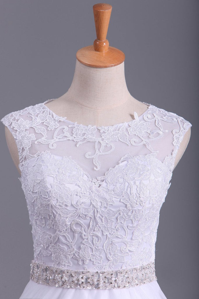 White Scoop Wedding Dresses A-Line Court Train With Beads &