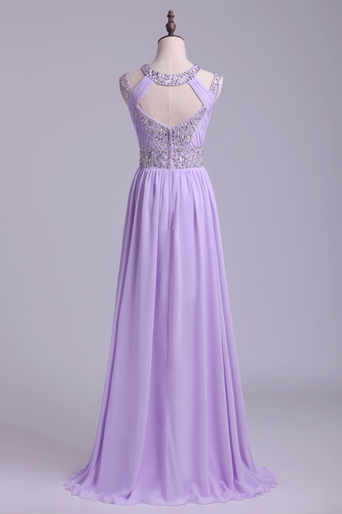 Sexy Prom Dresses Scoop A Line Floor-Length Open Back Chiffon With