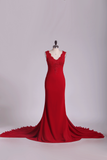 Spandex V Neck Sheath Evening Dresses With Applique And Bow Knot Court