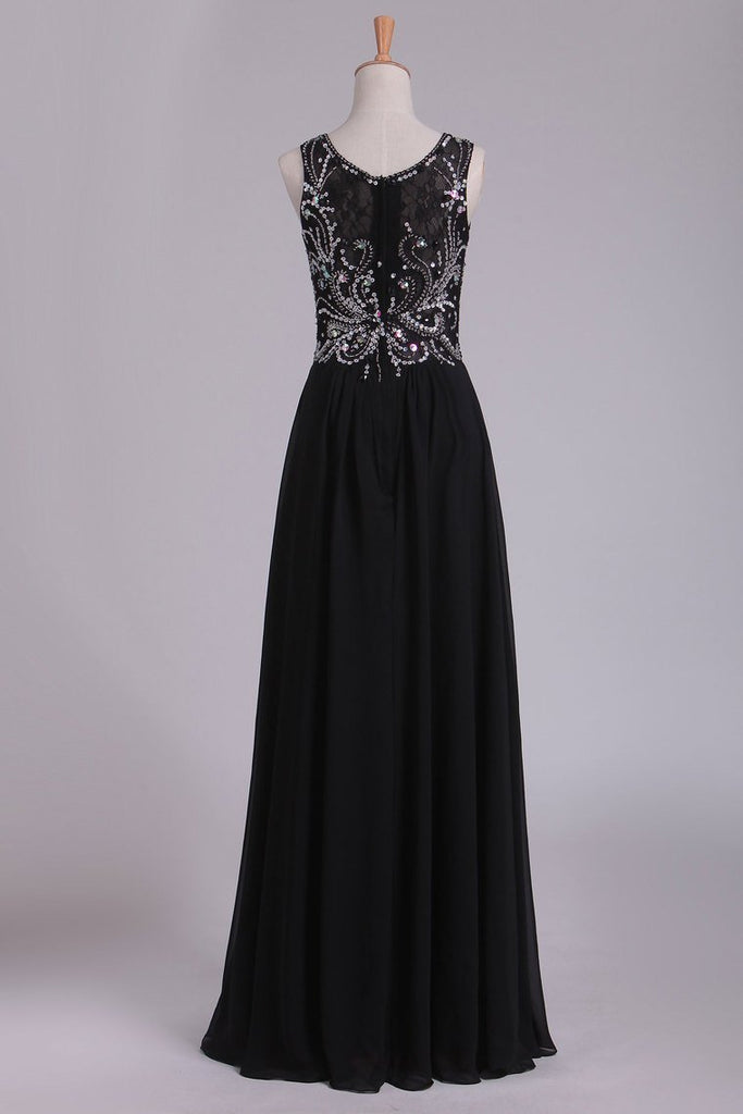 Prom Dresses Scoop Beaded Bodice A Line Chiffon Lace Floor Length
