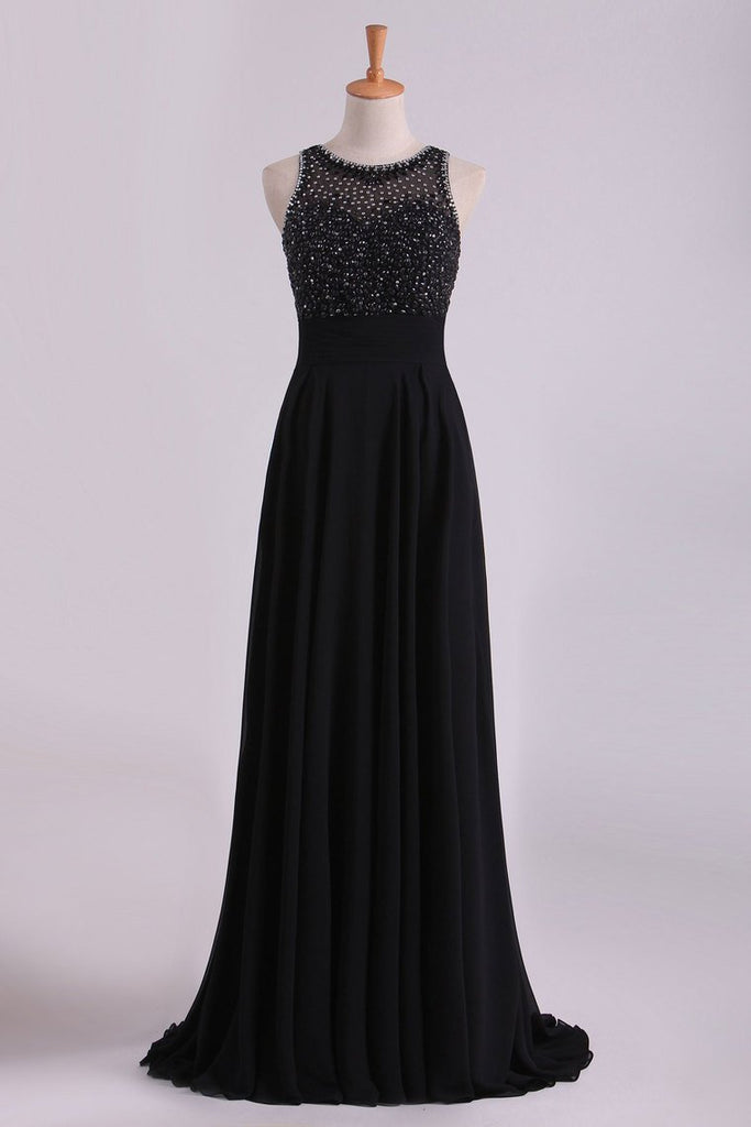 Black Open Back Prom Dresses Scoop A Line Chiffon With Beading