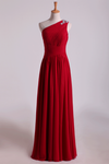 One Shoulder Prom Dresses A-Line Floor-Length Chiffon With Beads