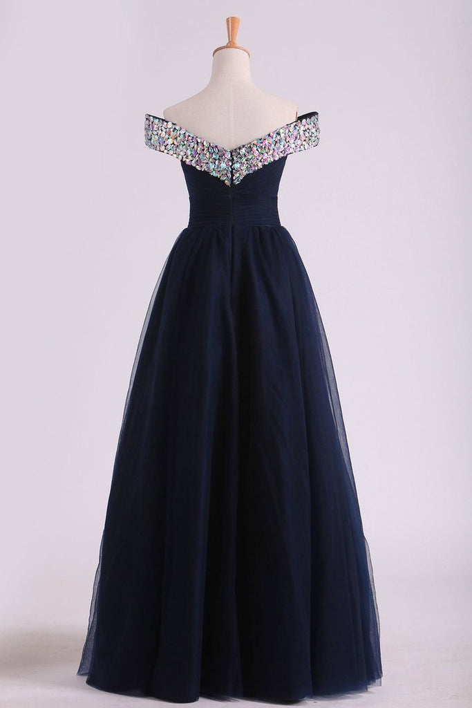 Off The Shoulder With Beading And Ruffles Prom Dresses A Line Tulle
