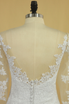 Plus Size Mermaid Open Back Wedding Dresses 3/4 Length Sleeve Tulle With Applique