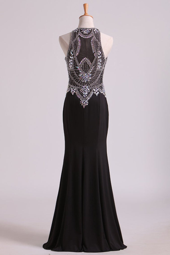 Black Prom Dresses Scoop Beaded Bodice Floor Length Spandex Sheath