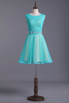 Homecoming Dresses Bateau Tulle & Lace A-Line With Beads