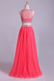 Two-Piece Bateau Beaded Bodice Princess Prom Dress Pick Up Tulle Skirt Floor