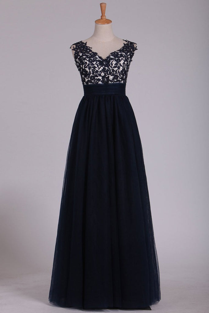 New Arrival Off The Shoulder A Line Prom Dresses With Beads And Embroidery Tulle