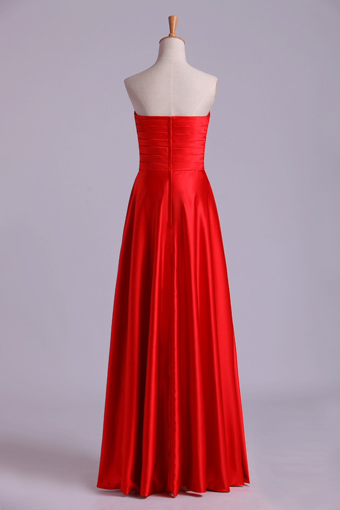 Sweetheart Prom Dresses Matching Pleated Bodice & Waistband Pick Up Long Trumpet Skirt Beaded