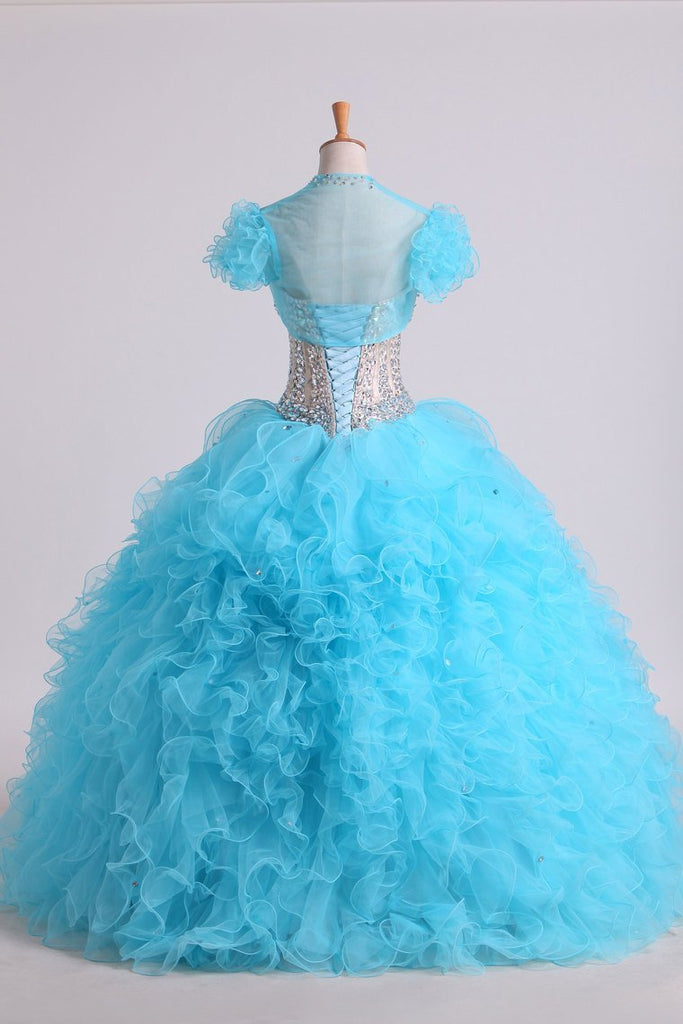 Beaded Bodice Sweetheart Balll Gown Quinceanera Dresses Floor Length