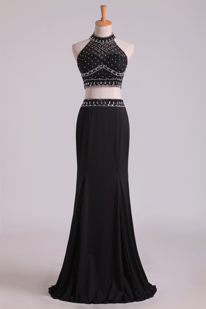 Black Halter Two-Piece Beaded Bodice Mermaid Open Back Prom Dresses Spandex & Tulle Floor Length