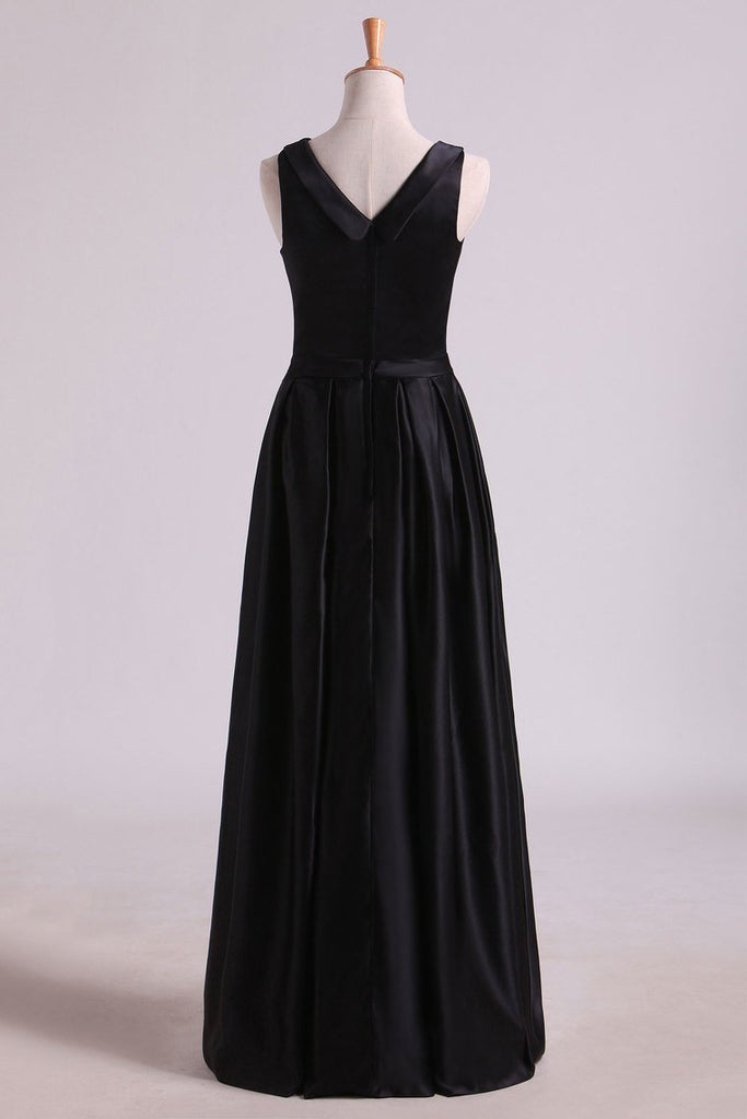 Black A Line Evening Dresses  Cowl Neck Floor Length Satin With Sash