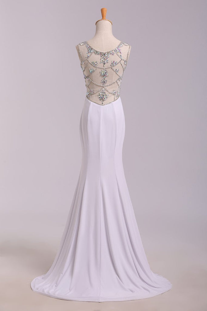 New Arrival Prom Dresses Scoop Neckline Sheath/Column Floor Length Fast Delivery
