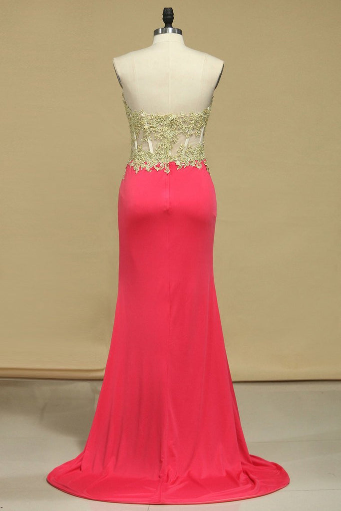Spandex Prom Dresses Sweetheart With Applique And