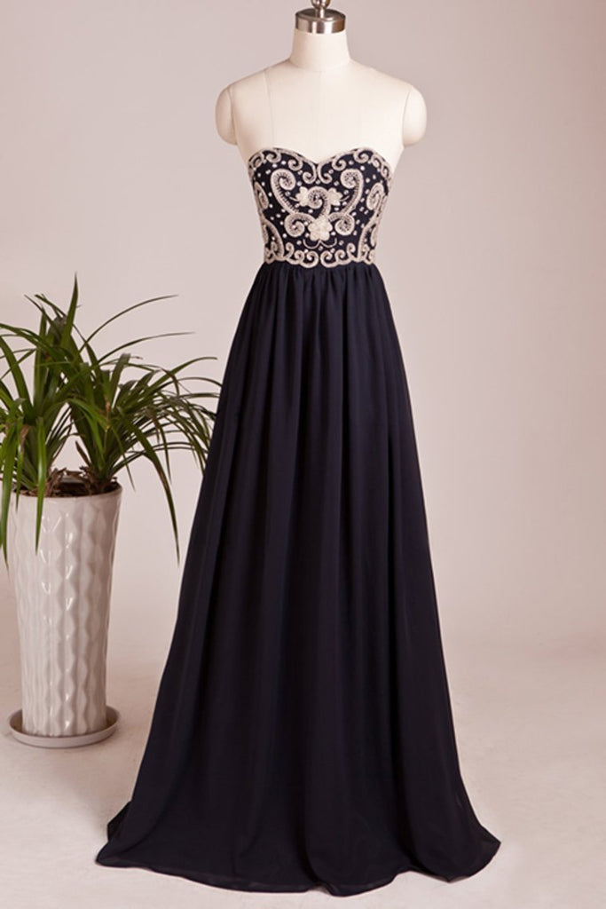 Beaded Bodice Prom Dresses A Line Chiffon Floor Length