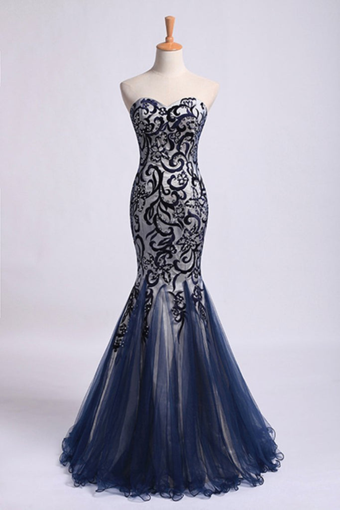 New Style Prom Dresses Mermaid Sweetheart Floor Length Tulle With Embroidery