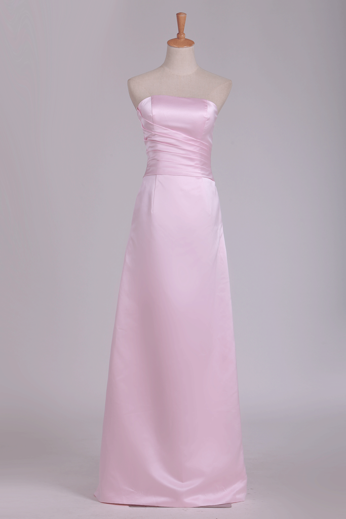 Strapless Bridesmaid Dresses Satin With Ruffles Floor Length A