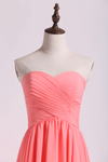 Prom Dresses/High Low Skirt Sweetheart Fitted&Pleated Bodice