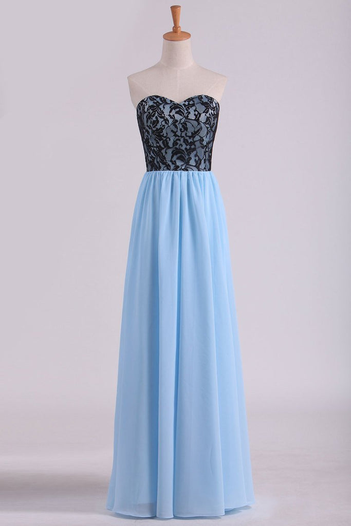 Sweetheart A Line Floor Length Chiffon Prom Dress With Black