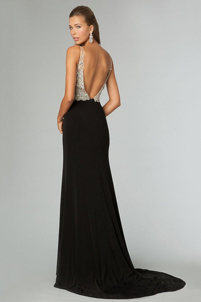 Full Beaded Tulle Bodice Backless Sexy Prom Dress Court Train Black