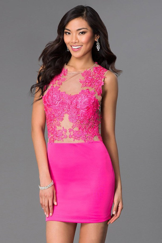 Hot Selling Column Homecoming Dresses Short/Mini With Applique