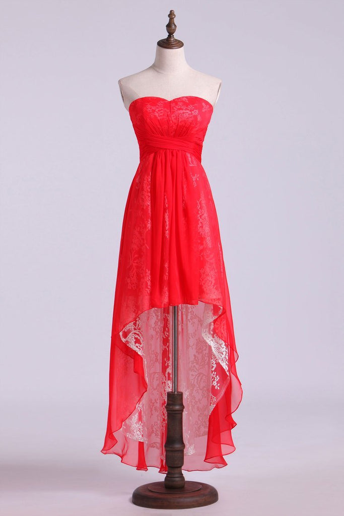 Homecoming Dresses Asymmetrical Train Sweetheart A Line Chiffon