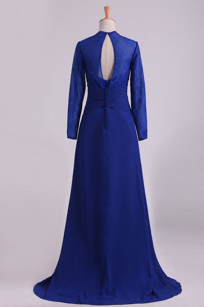 Mother Of The Bride Dresses Long Sleeves Chiffon With Applique Open Back Dark Royal Blue