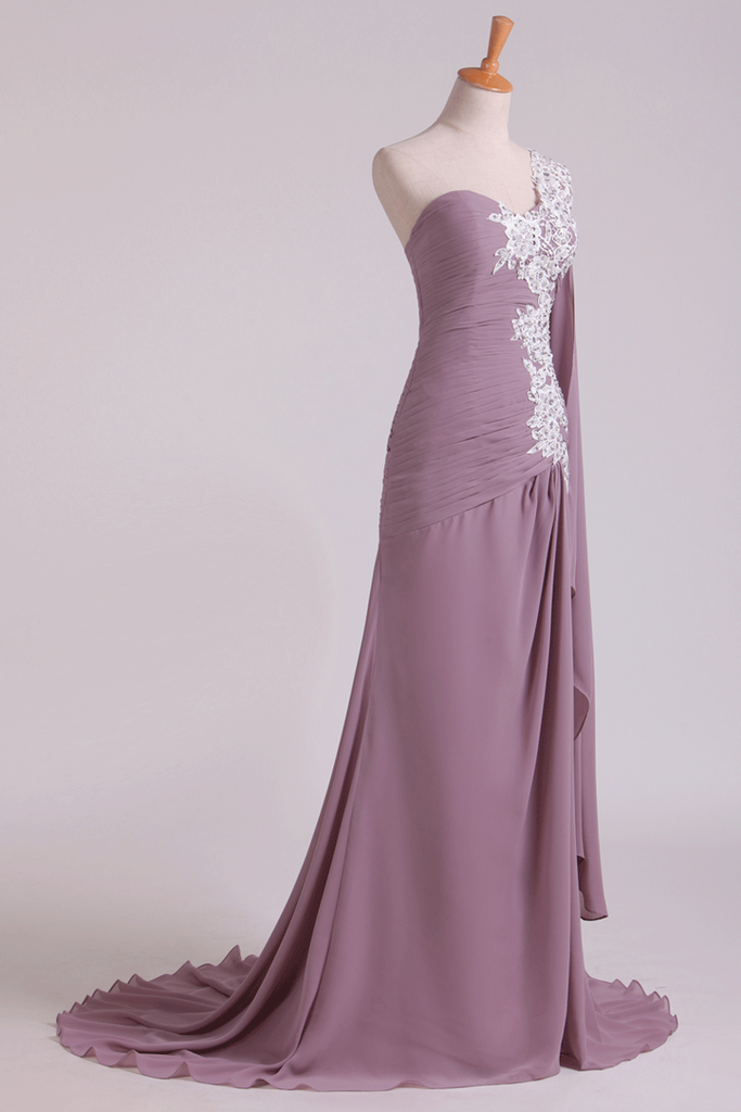 One Shoulder Pleated Bodice Prom Dress With Beaded Applique Sweep Train