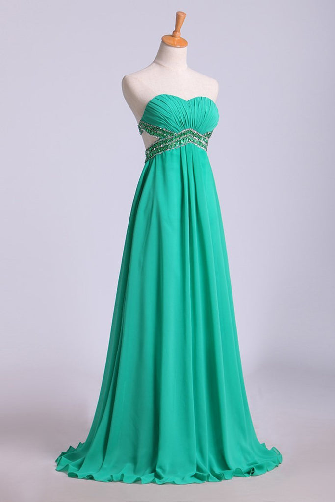 Open Back Prom Dress Sweetheart Ruffled Bodice With Beaded Straps Pick Up Chiffon Skirt