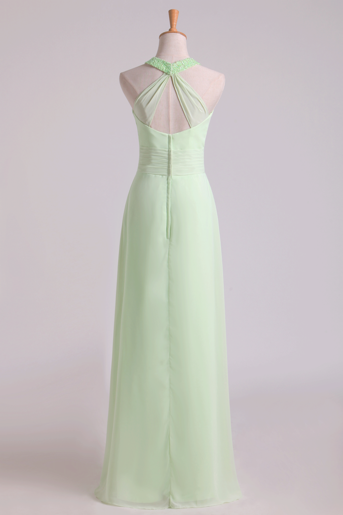 Sexy Scoop A Line Bridesmaid Dresses Chiffon With Beads