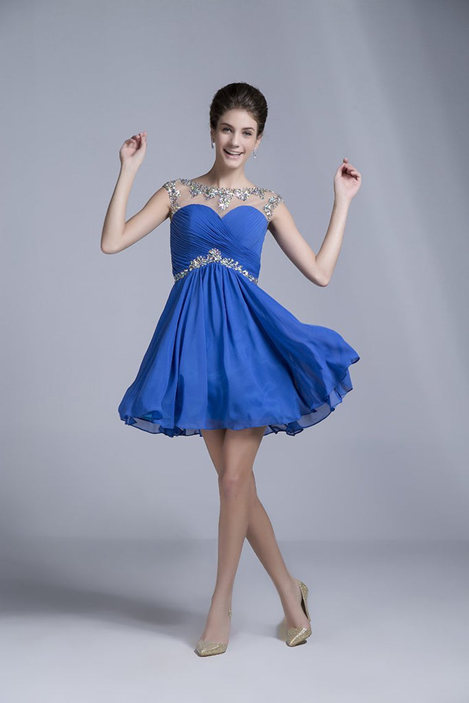 Homecoming Dresses Short/Mini Rulffled&Beaded Chiffon Dark Royal Blue