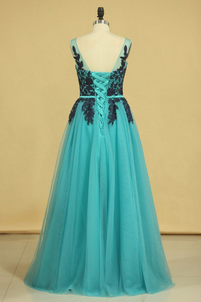 Hot Scoop Prom Dresses Tulle A Line With Applique And Sash