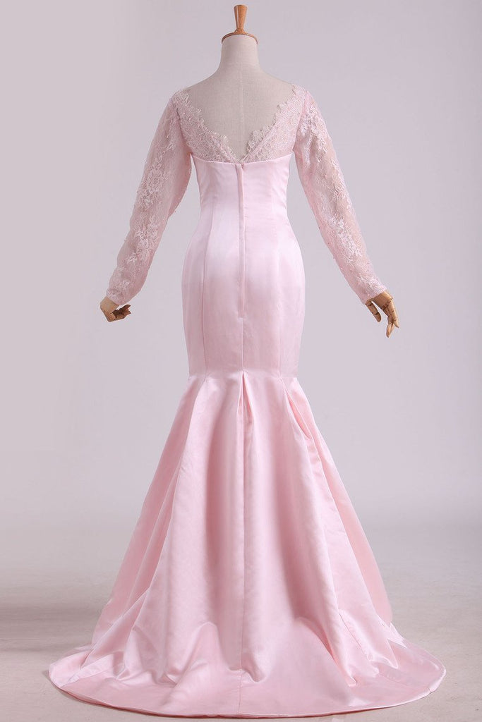 Prom Dresses Mermaid V Neck Long Sleeves With Applique Satin