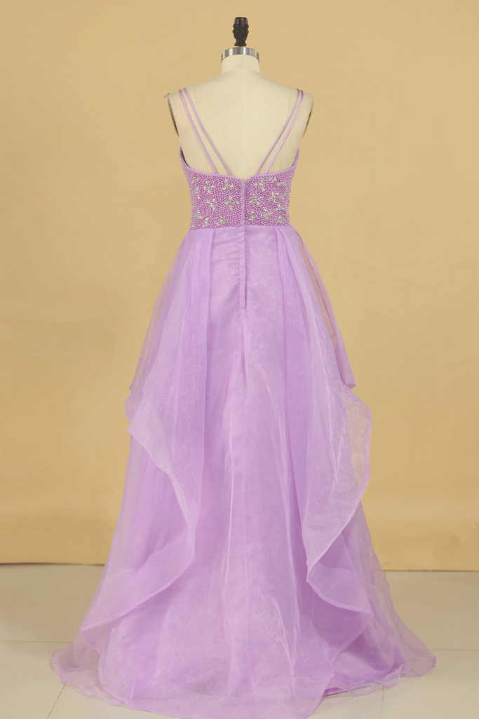 A Line Prom Dresses Beaded Bodice Spaghetti Straps Organza Floor Length