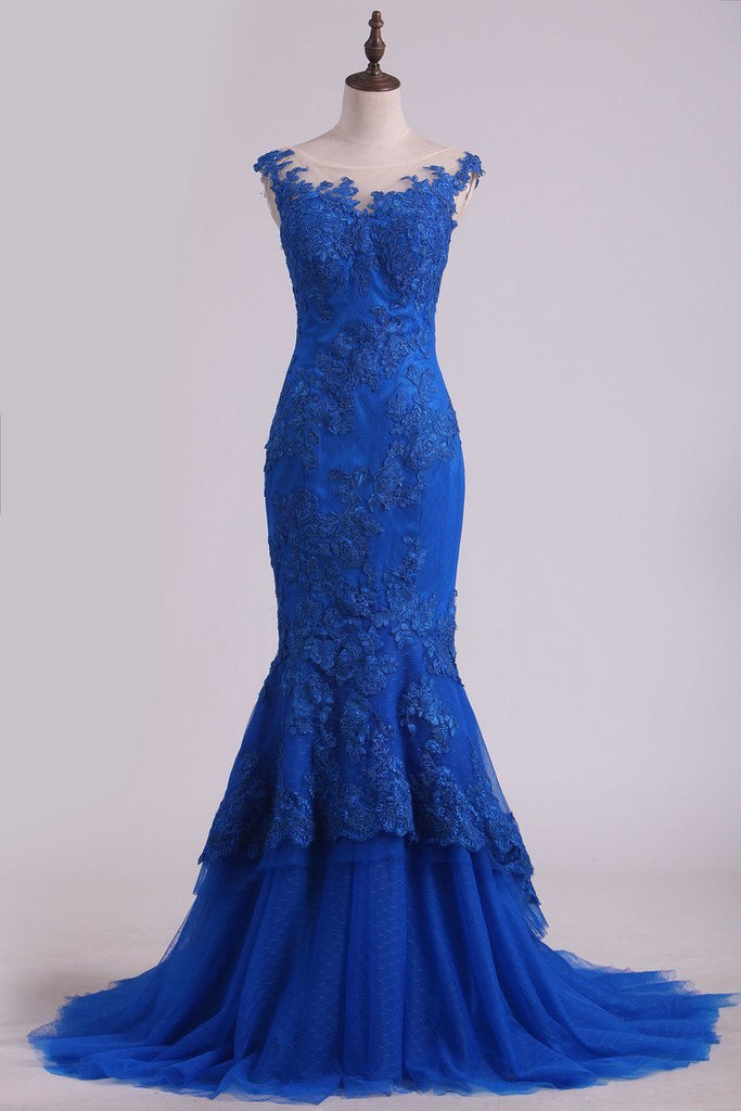 Mermaid Evening Dresses Bateau Sweep Train With Applique Tulle