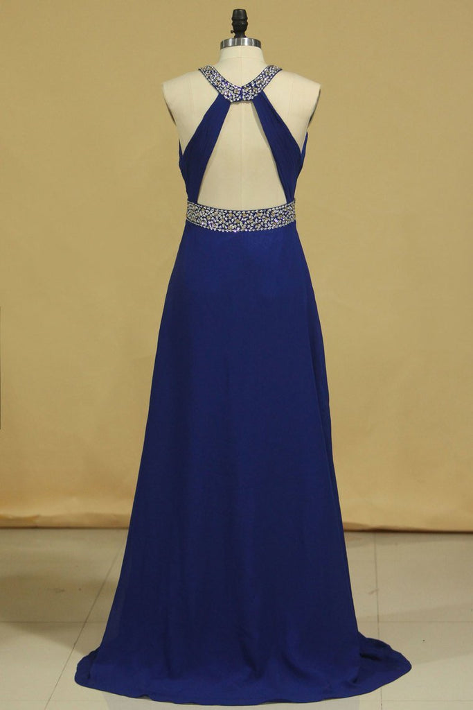 Prom Dresses Halter Chiffon A Line Open Back Sweep Train