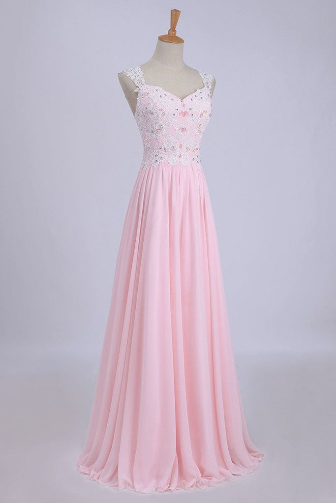 V-Neck A-Line/Princess Prom Dress Tulle&Chiffon With Beads And
