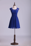 Homecoming Dresses Dark Royal Blue A Line Short Square Neckline Open Back Lace & Chiffon