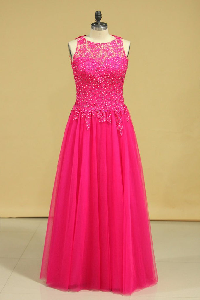 A Line Open Back Scoop Prom Dresses Tulle With Applique & Beading Floor Length