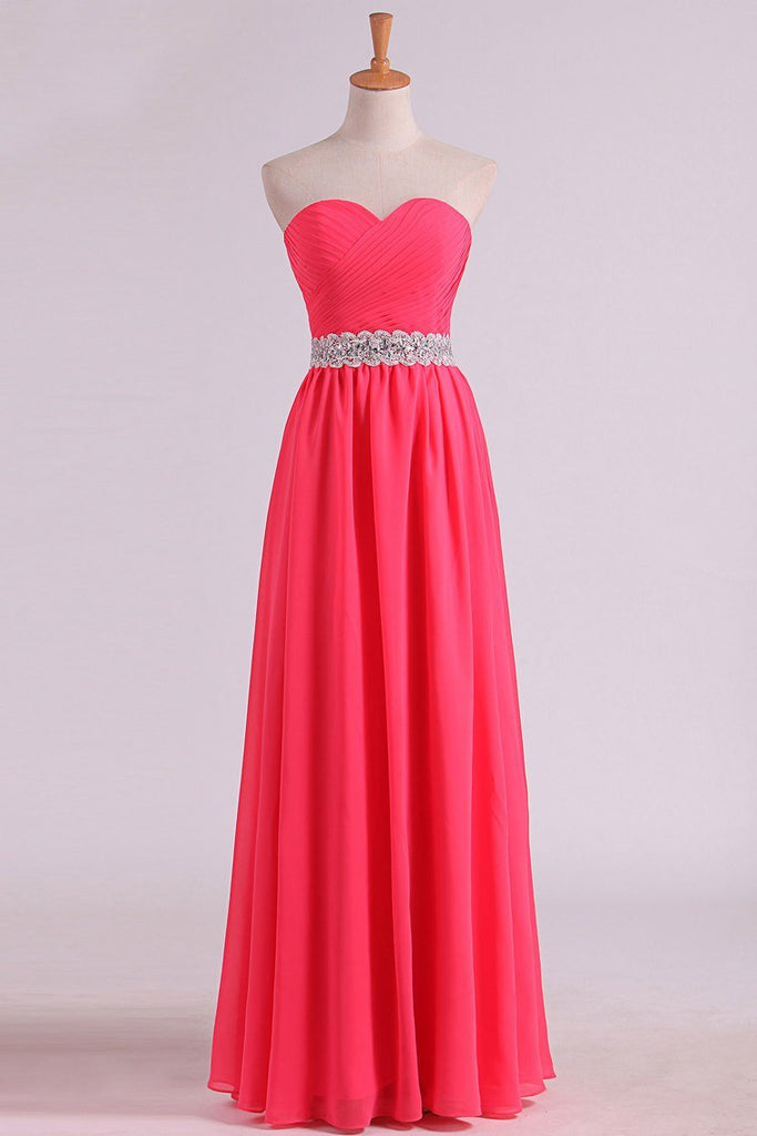 New Arrival Prom Dresses Sweetheart Ruched Bodice With Beading Chiffon