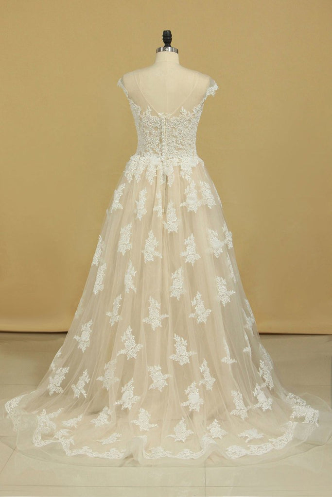 Court Train Scoop  A Line Wedding Dresses Tulle With Applique