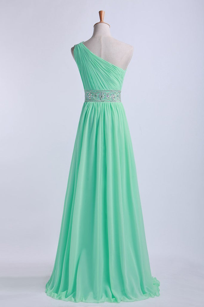 One Shoulder A-Line Prom Dresses Floor Length Chiffon With Beading&Sequins