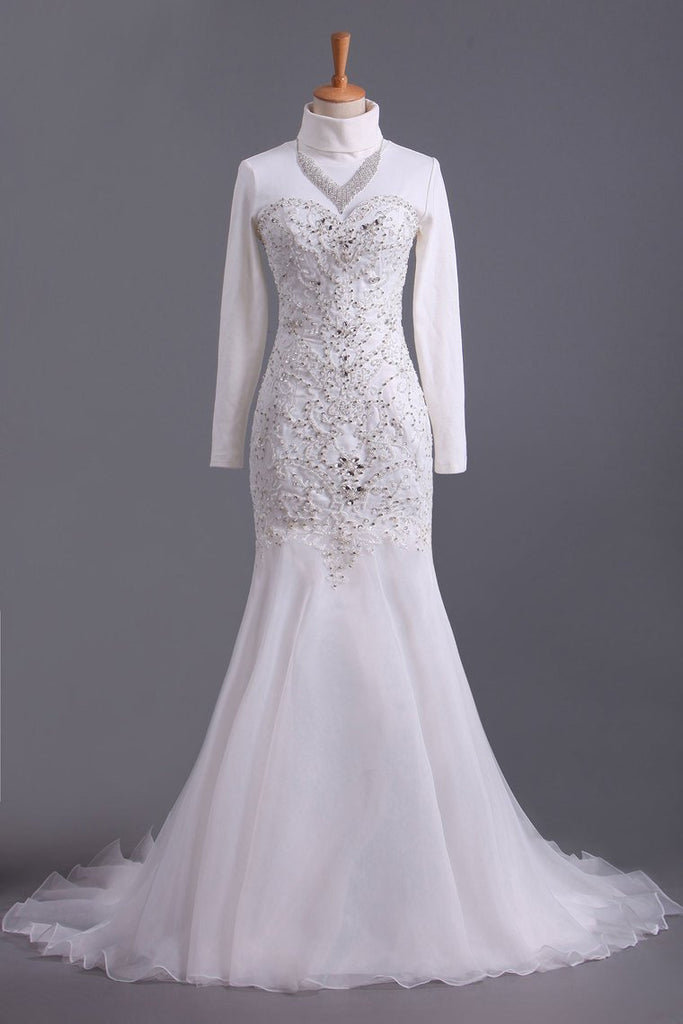 Sweetheart Beaded Bodice Sheath/Column Wedding Dress With Organza