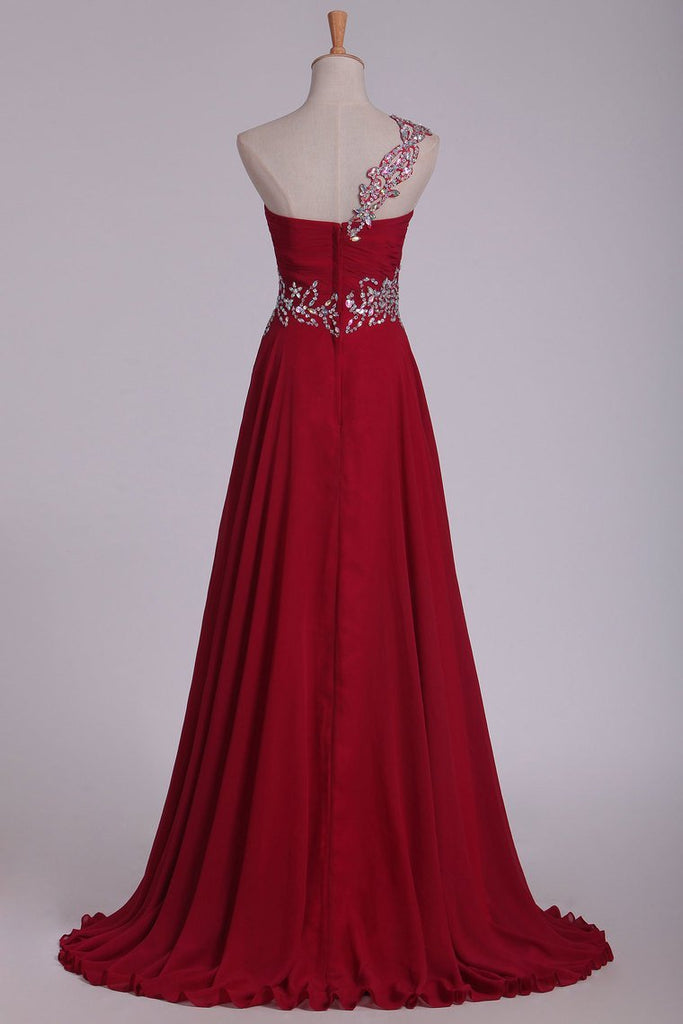 Chiffon One Shoulder With Beads And Ruffles A Line Prom Dress
