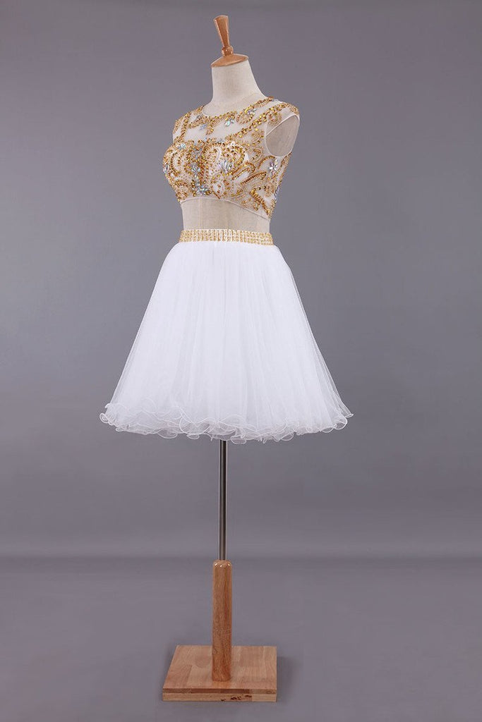 Two-Piece Scoop A Line Short/Mini Homecoming Dresses Tulle Beaded