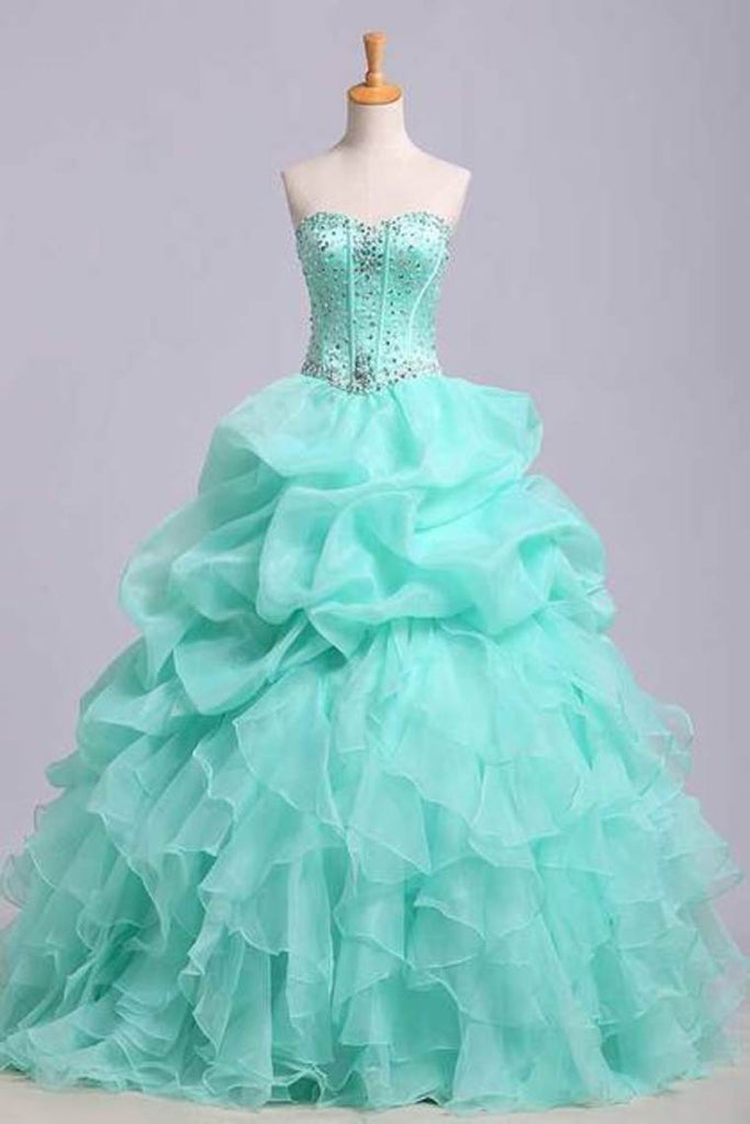 Ball Gown Sweetheart Jewel Beaded Bodice Bubble And Ruffled Skirt