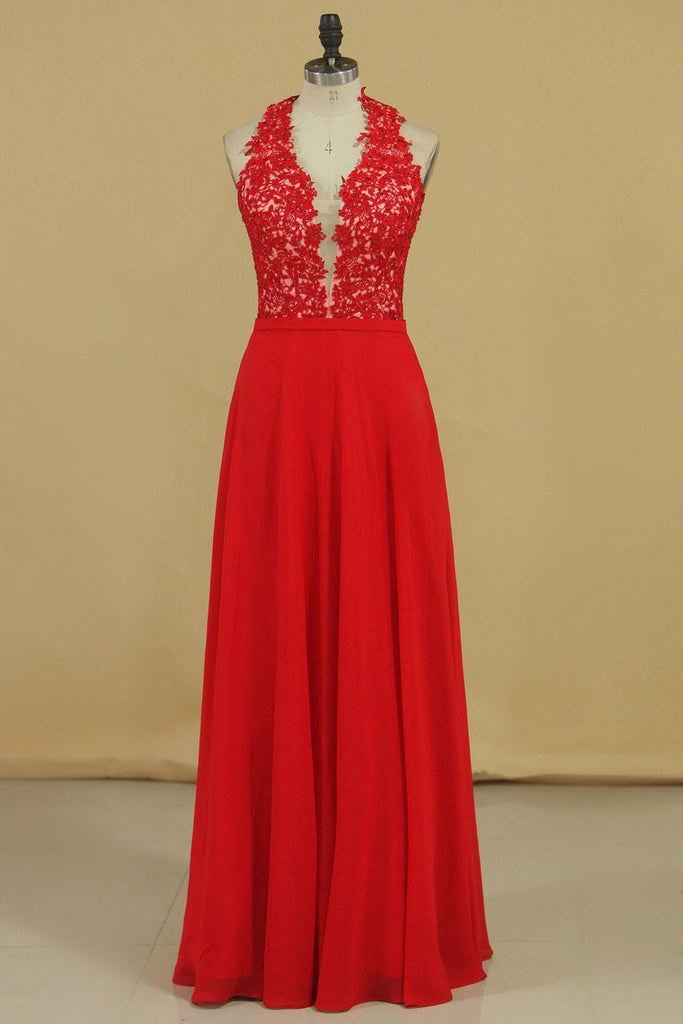 New Arrival V Neck Prom Dresses A Line Chiffon With Applique And Beads Floor Length