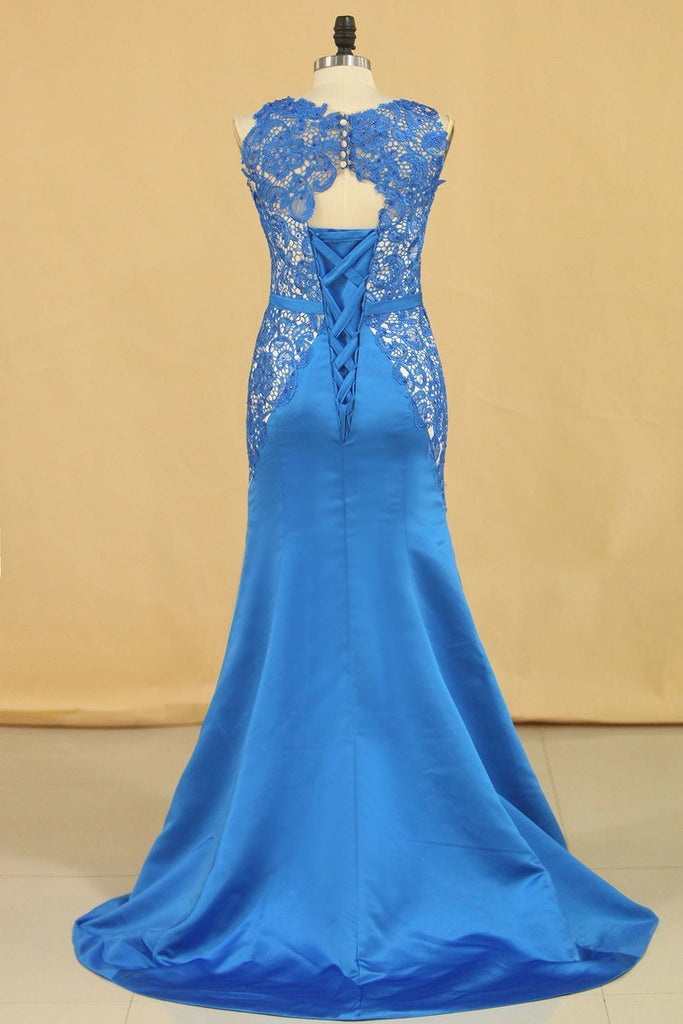 Mermaid/Trumpet Scoop With Sash Satin & Lace Prom Dresses