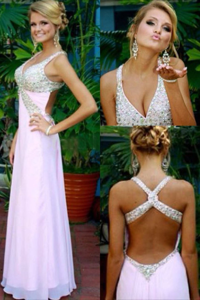 Sexy Halter Open Back A Line Prom Dresses Chiffon With