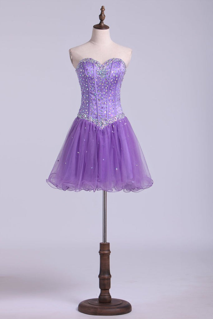 Homecoming Dresses Sweetheart A Line Short With Rhinestones